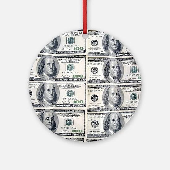 $100 dollar bills money Round Ornament