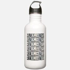 $100 dollar bills mone Sports Water Bottle