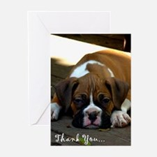 Thank you boxer puppy Greeting Cards