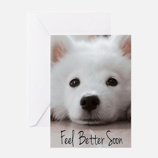 Feel Better Samoyed Puppy Greeting Cards