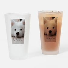 Feel Better Samoyed Puppy Drinking Glass