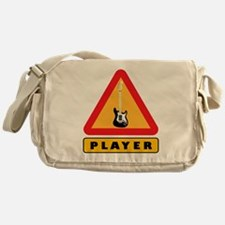 Electric Guitar Player Caution Sign Messenger Bag