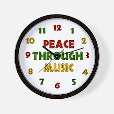 Peace Through Music Wall Clock