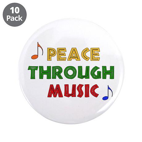 "Peace Through Music 3.5"" Button (10 pack)"