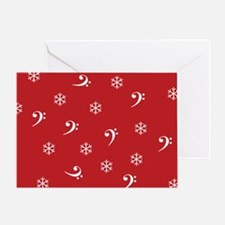 Bass Clef Snowflakes Greeting Card (red)