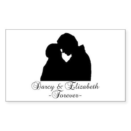 Darcy & Elizabeth Forever Silhouette Sticker (Rect
