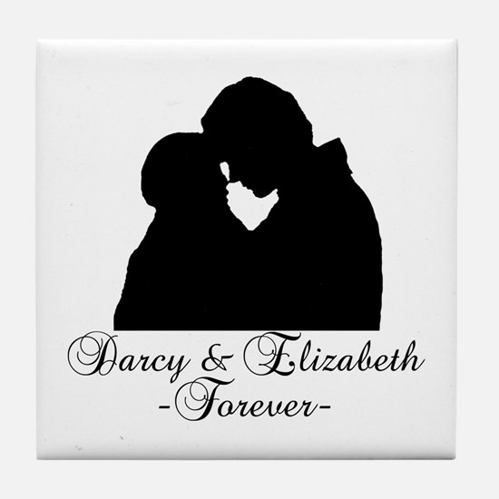 Darcy & Elizabeth Forever Silhouette Tile Coaster