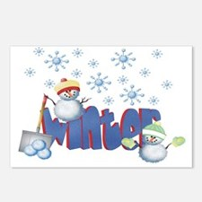 Unique Snow shoveling Postcards (Package of 8)