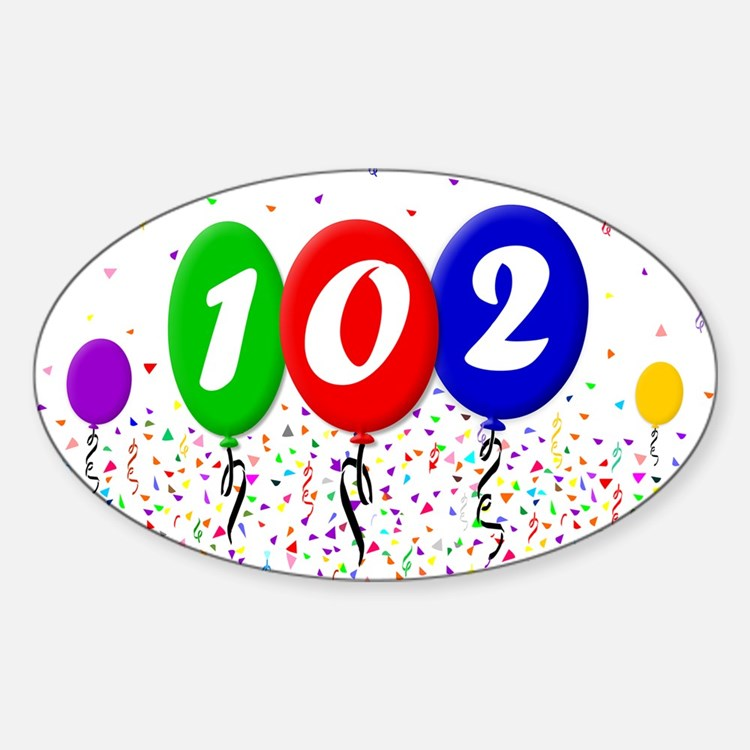 102nd Birthday Rectangle Decal