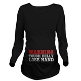 Hands off the bump Dark Long Sleeve Maternity T-Shirt