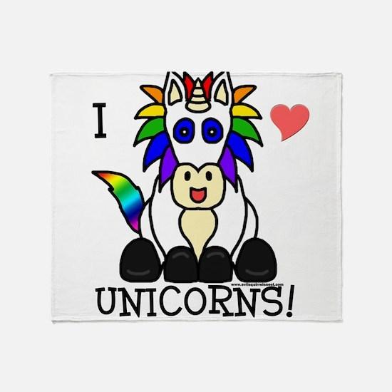 Cute I love unicorns Throw Blanket