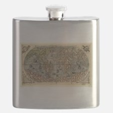 Vintage Map of The World (1565) Flask