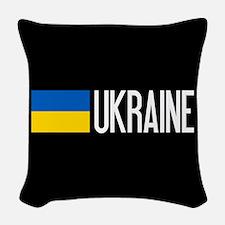 Ukraine: Ukrainian Flag & Ukra Woven Throw Pillow