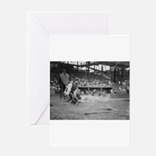 Lou Gehrig Sliding into Home Plate Greeting Cards