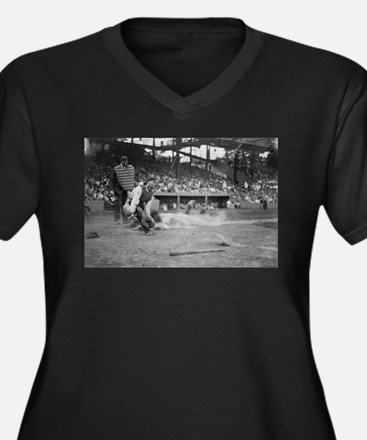 Lou Gehrig Sliding into Home Plate Plus Size T-Shi