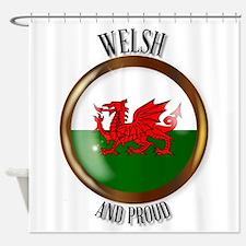 Welsh Proud Flag Button Shower Curtain