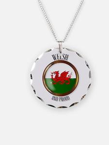 Welsh Proud Flag Button Necklace