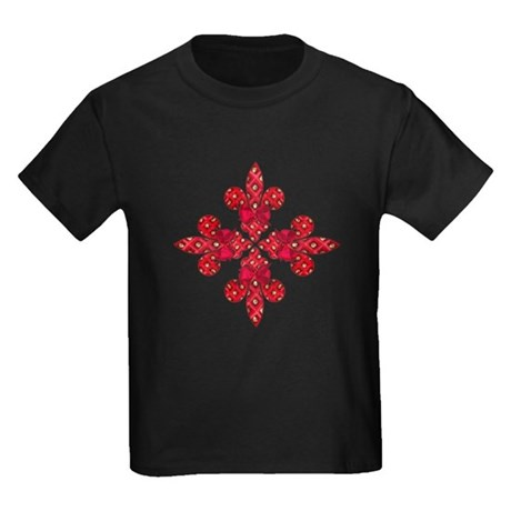 Red Holiday Fleur de lis Kids Dark T-Shirt