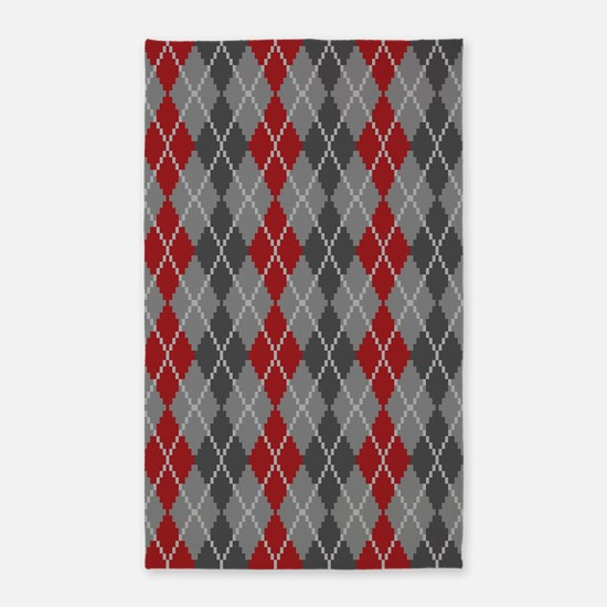 Ashes and Embers Argyle Area Rug