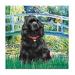 Bridge / Black Cocker Spaniel Tile Coaster
