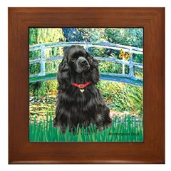 Bridge / Black Cocker Spaniel Framed Tile