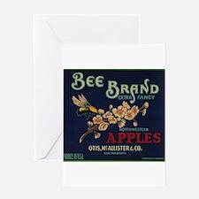 Bee Apple - Vintage Crate Label Greeting Cards