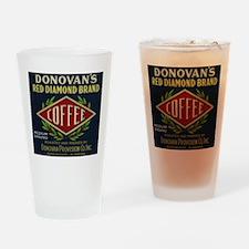 Donovan's - Vintage Coffee Label Drinking Glass