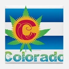 Colorado Marijuana Flag Tile Coaster