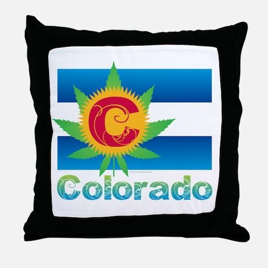 Colorado Marijuana Flag Throw Pillow