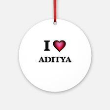 I love Aditya Round Ornament