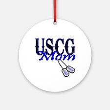 USCG Mom Dog Tag Ornament (Round)