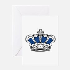 Crown - Blue Greeting Cards