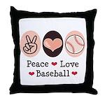 Peace Love Baseball Throw Pillow