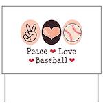 Peace Love Baseball Yard Sign