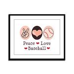 Peace Love Baseball Framed Panel Print