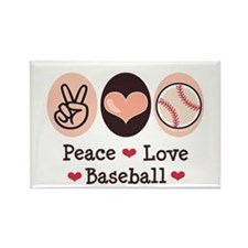 Peace Love Baseball Rectangle Magnet