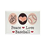 Peace Love Baseball Rectangle Magnet (10 pack)
