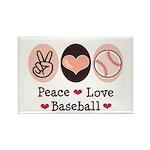 Peace Love Baseball Rectangle Magnet (100 pack)
