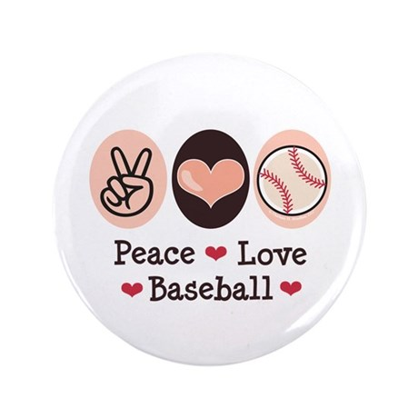 "Peace Love Baseball 3.5"" Button (100 pack)"