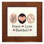 Peace Love Baseball Framed Tile