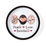 Peace Love Baseball Wall Clock