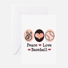 Peace Love Baseball Greeting Card