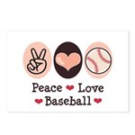 Peace Love Baseball Postcards (Package of 8)