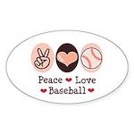 Peace Love Baseball Oval Sticker