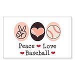 Peace Love Baseball Rectangle Sticker