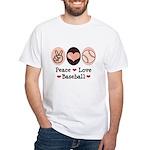Peace Love Baseball White T-Shirt