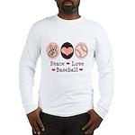 Peace Love Baseball Long Sleeve T-Shirt