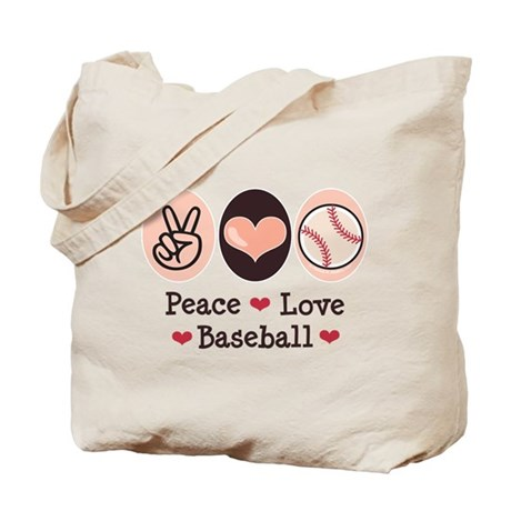Peace Love Baseball Tote Bag