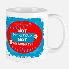 NOT MY CIRCUS LIGHT BLUE RED OVAL Mugs