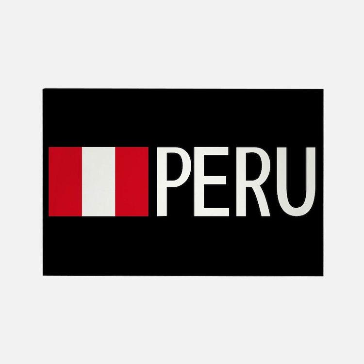 Peru: Peruvian Flag & Peru Rectangle Magnet